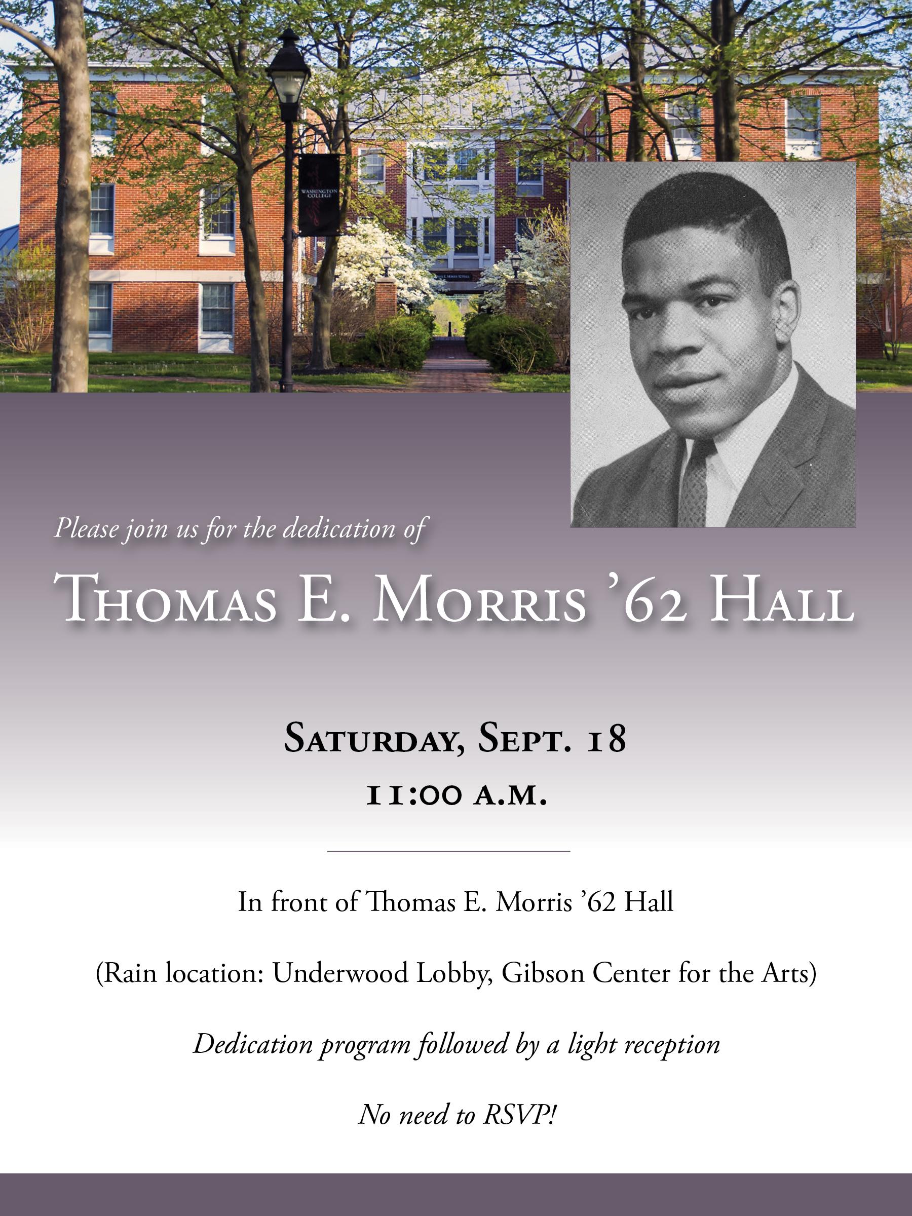 The Dedication of Thomas E. Morris '62 Hall